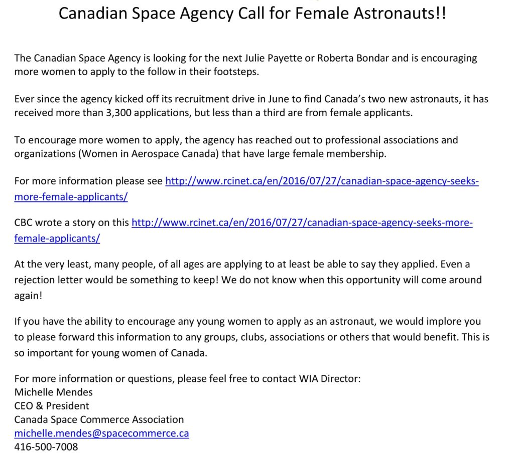 Call for Female Astronauts